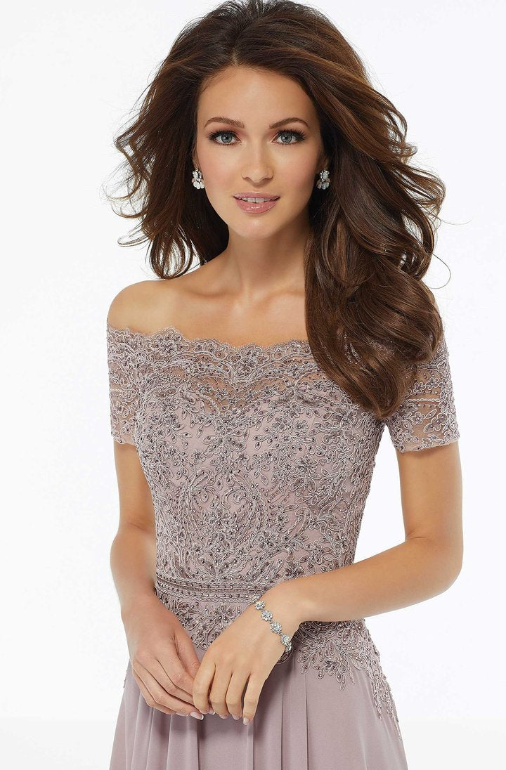 MGNY By Mori Lee - 72133SC Lace Off Shoulder Chiffon Dress