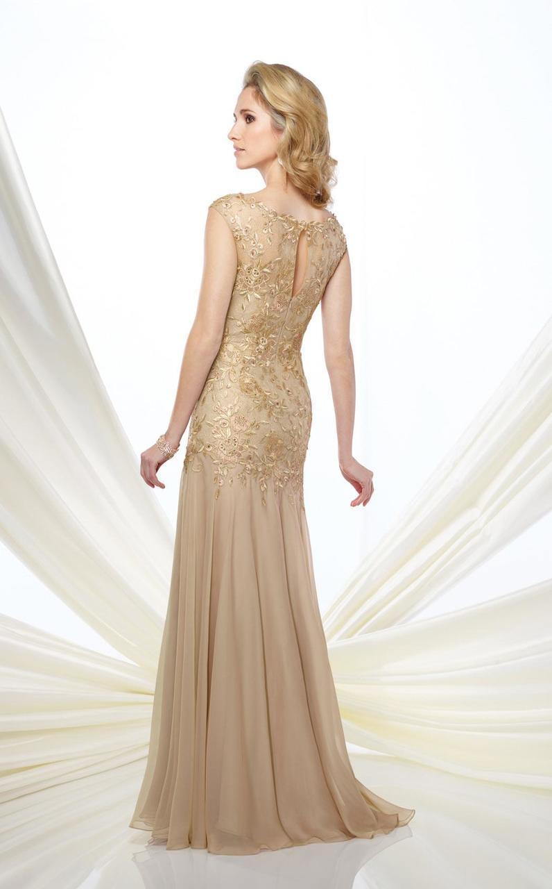 Montage by Mon Cheri - 216962 Metallic Lace Fit and Flare Chiffon Gown