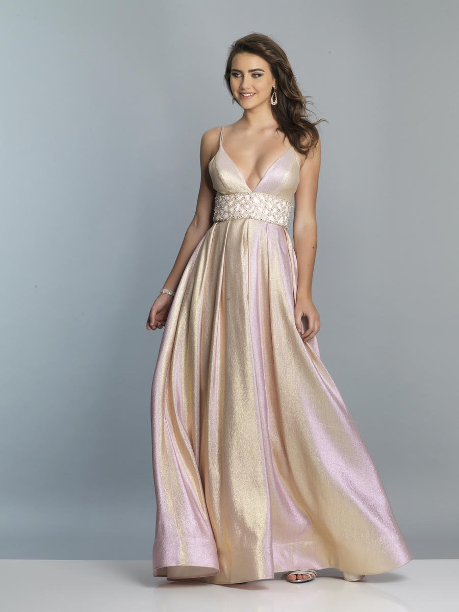 Dave & Johnny - Beaded Waist Deep V-neck A-line Dress A7229  In Pink and Gold