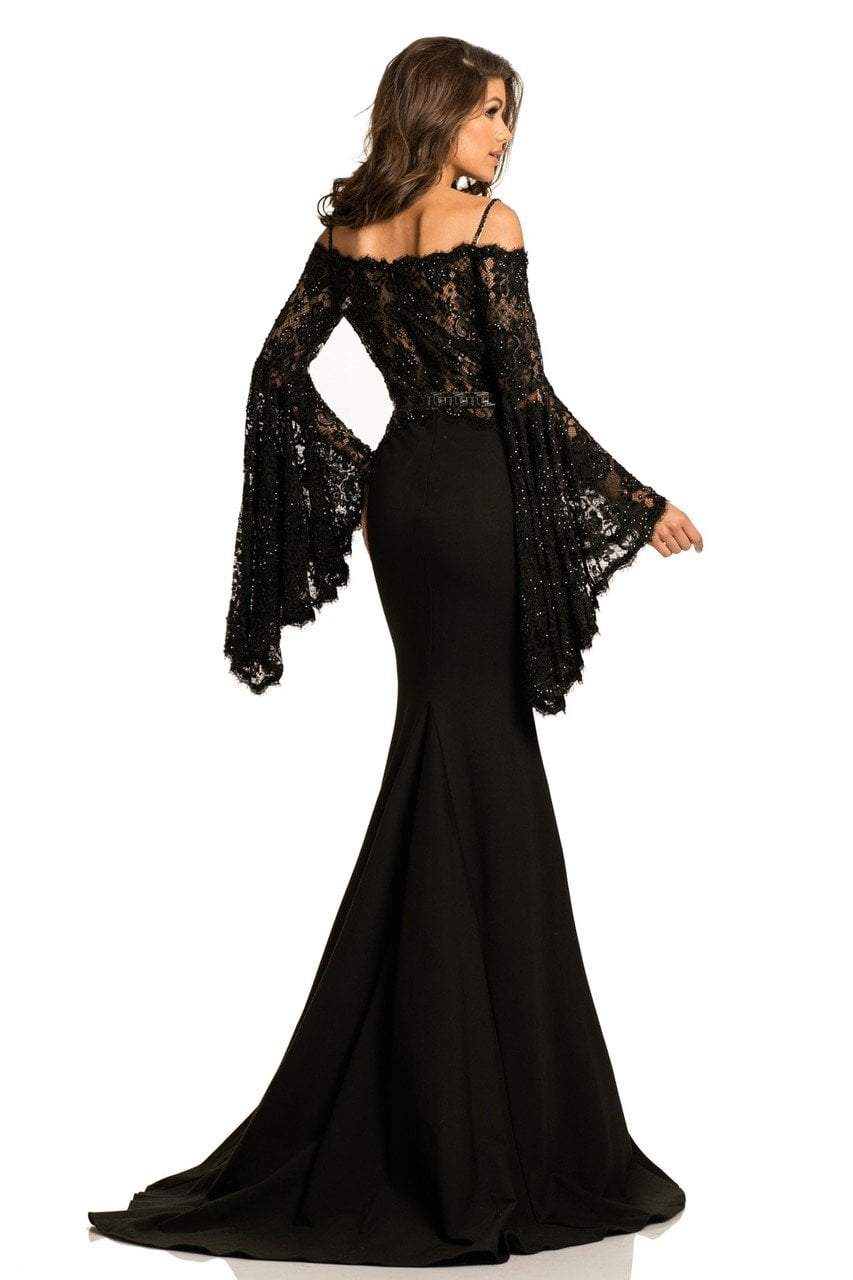Johnathan Kayne - 7244 Bell Sleeve Off-Shoulder Lace Gown in Black and Neutral