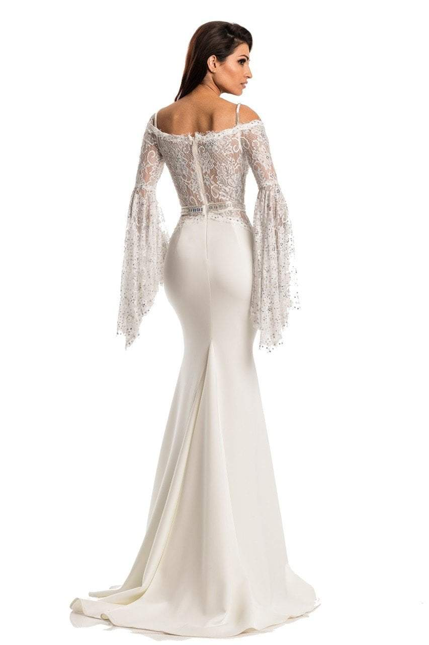 Johnathan Kayne - 7244 Bell Sleeve Off-Shoulder Lace Gown in White and Neutral