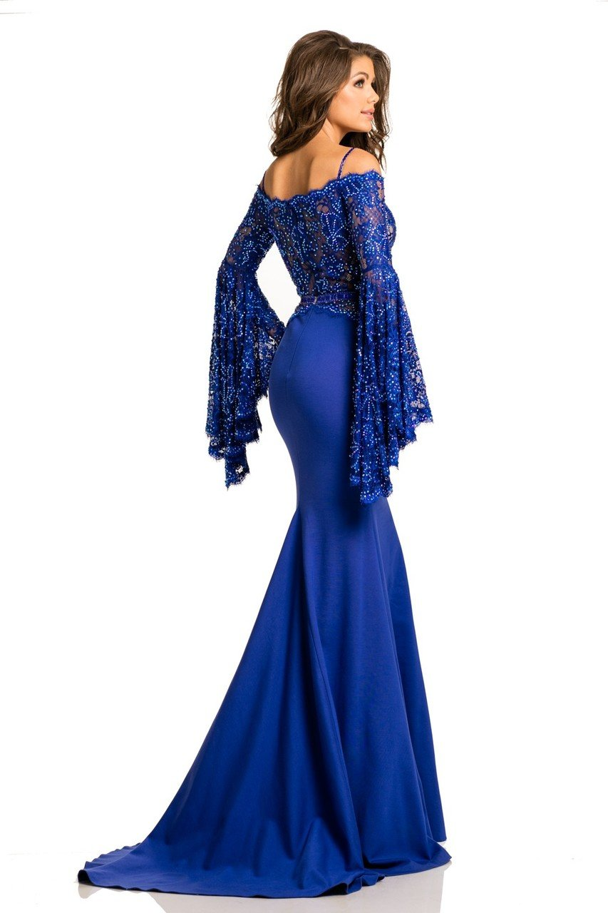 Johnathan Kayne - 7244 Bell Sleeve Off-Shoulder Lace Gown in Blue and Neutral