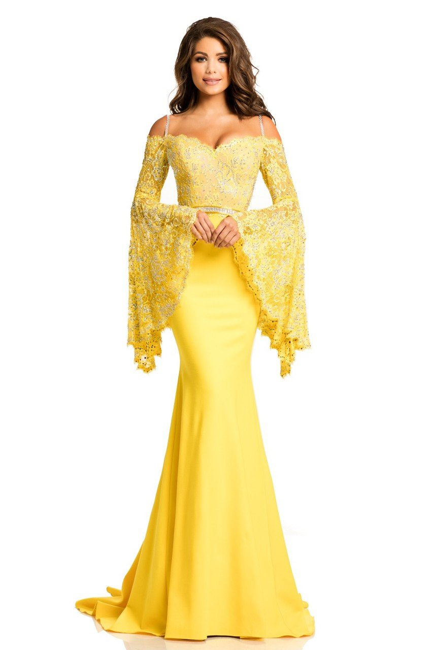 Johnathan Kayne - 7244 Bell Sleeve Off-Shoulder Lace Gown in Yellow and Neutral