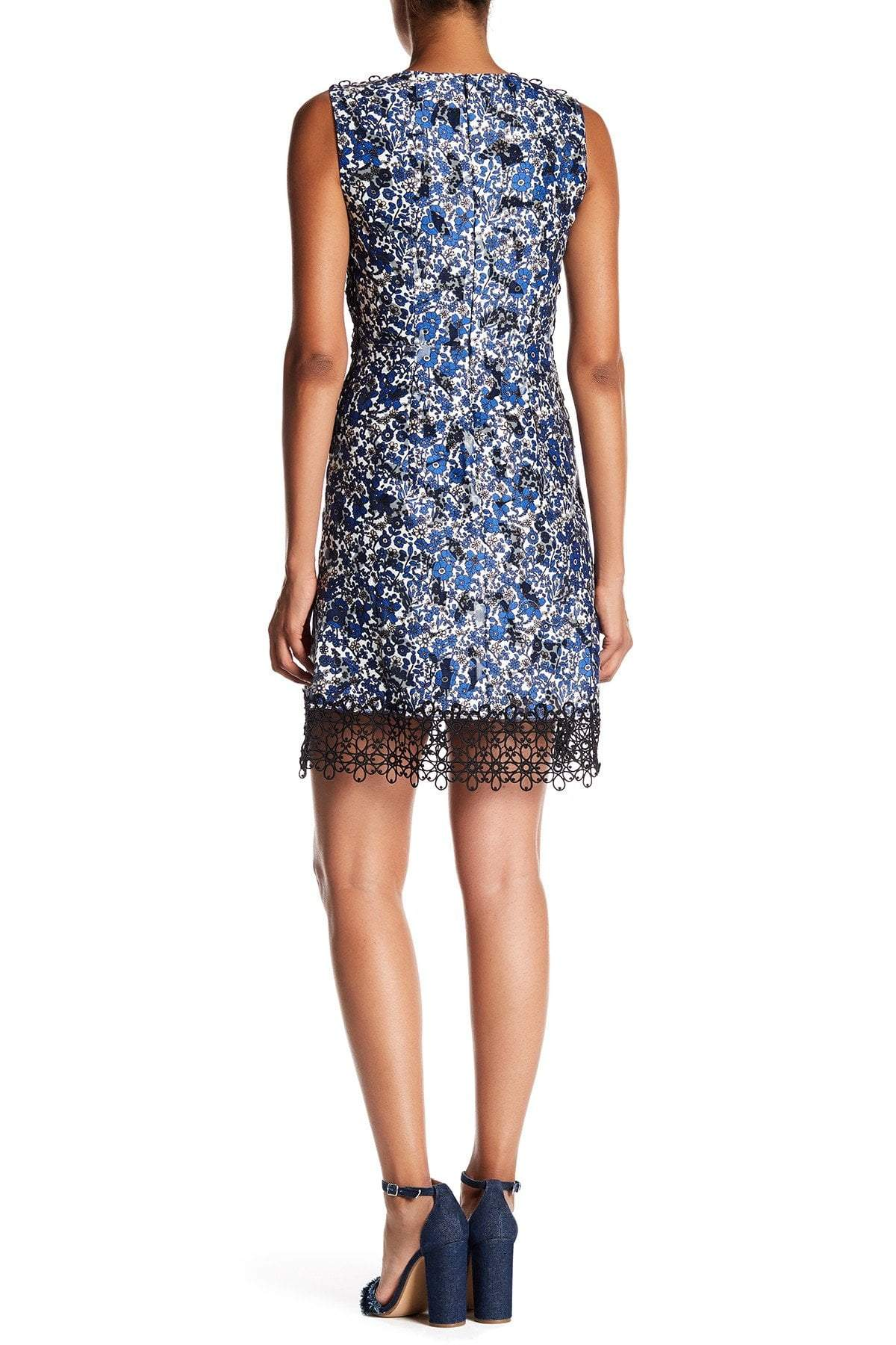 Elie Tahari - E40F9617 Floral Printed Crochet A-line Dress In Blue and Black