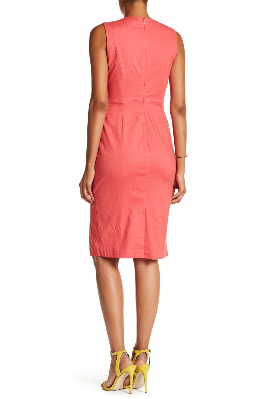 Nina Leonard - L5695A Sleeveless Front Button Sheath Dress in Pink and Orange