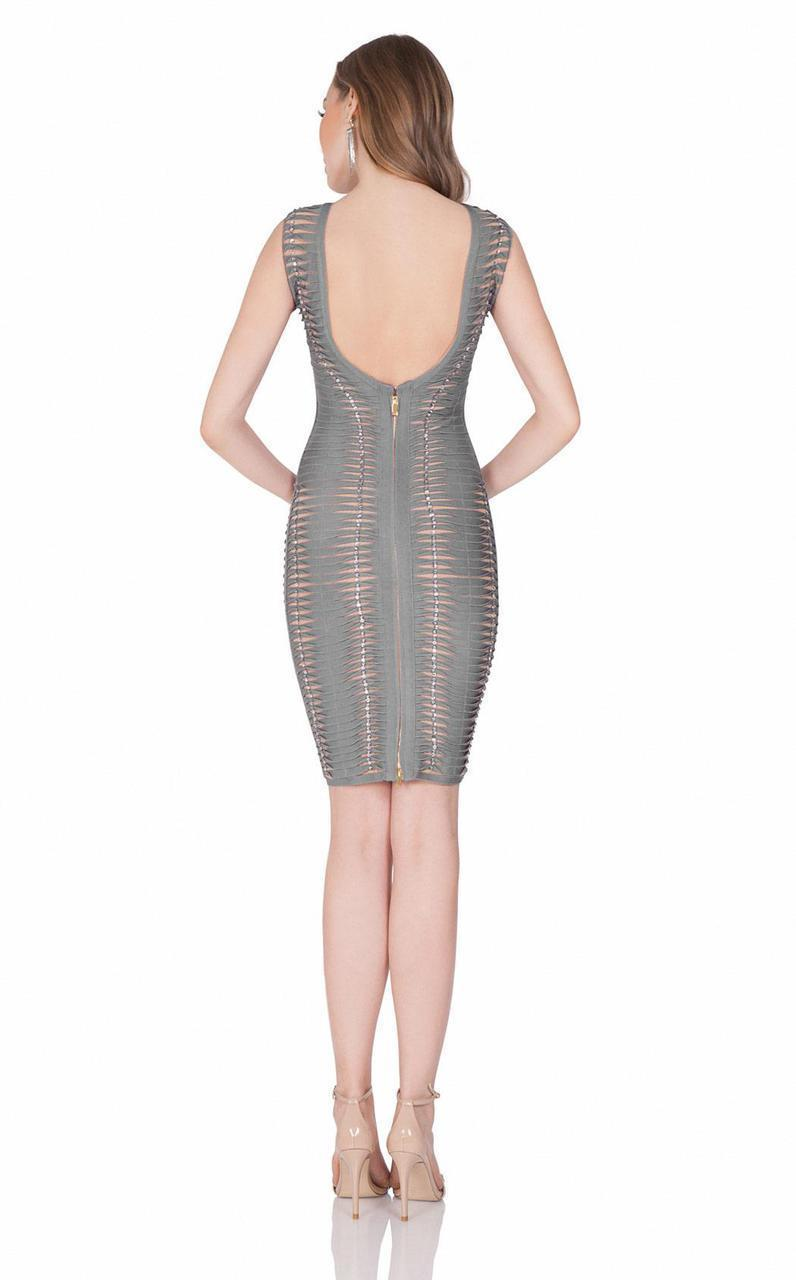 Terani Couture - 1621C1256 Sleeveless V-Neck Sheath Dress in Silver