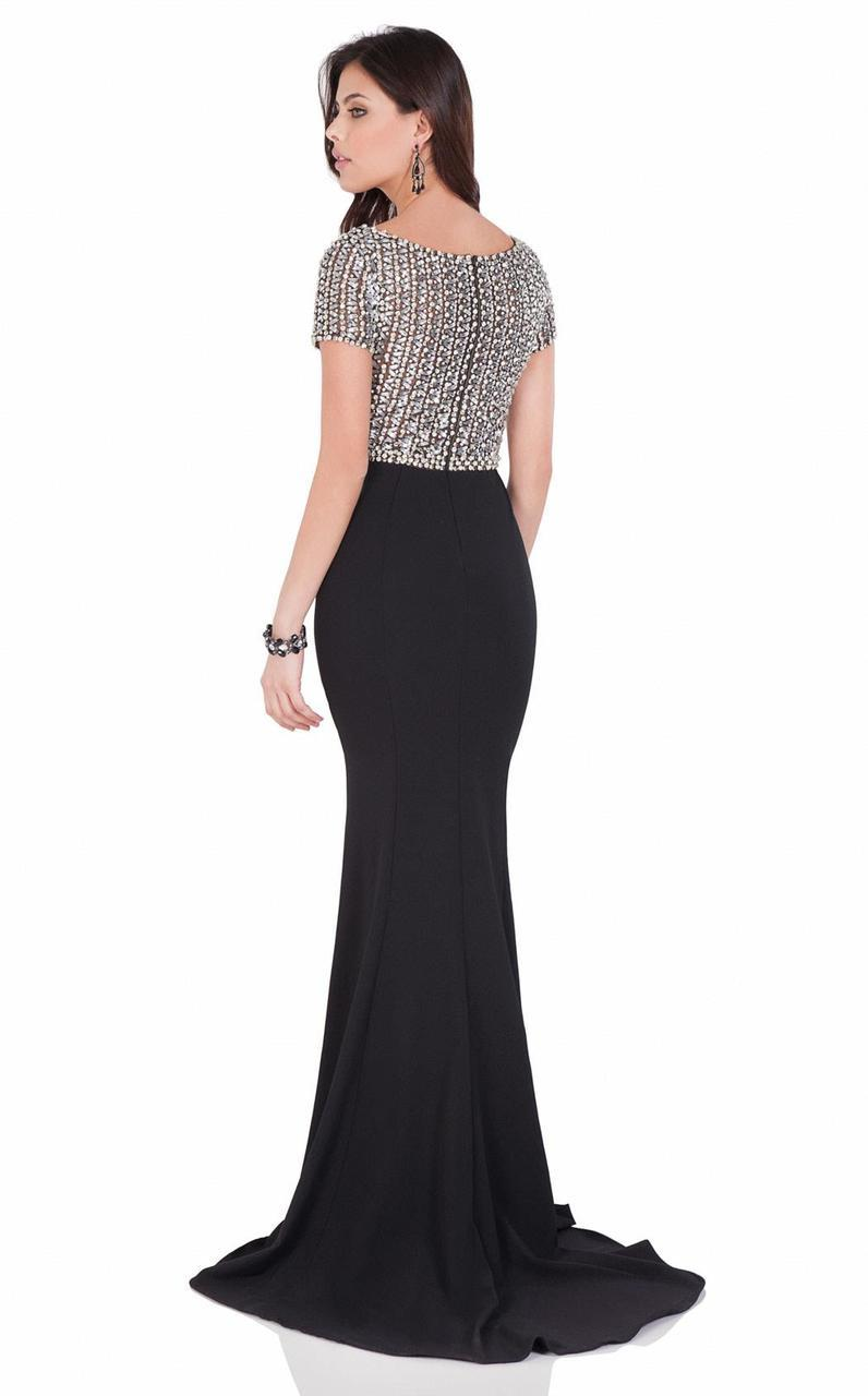 Terani Couture - Glistening Crystal Bateau Mermaid Gown 1622E1554 In Black