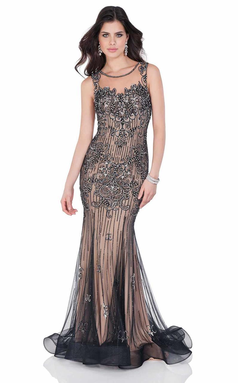 Terani Couture - Beautiful Bedazzled Illusion Neck Mermaid Gown 1622GL1981 In Black and Silver