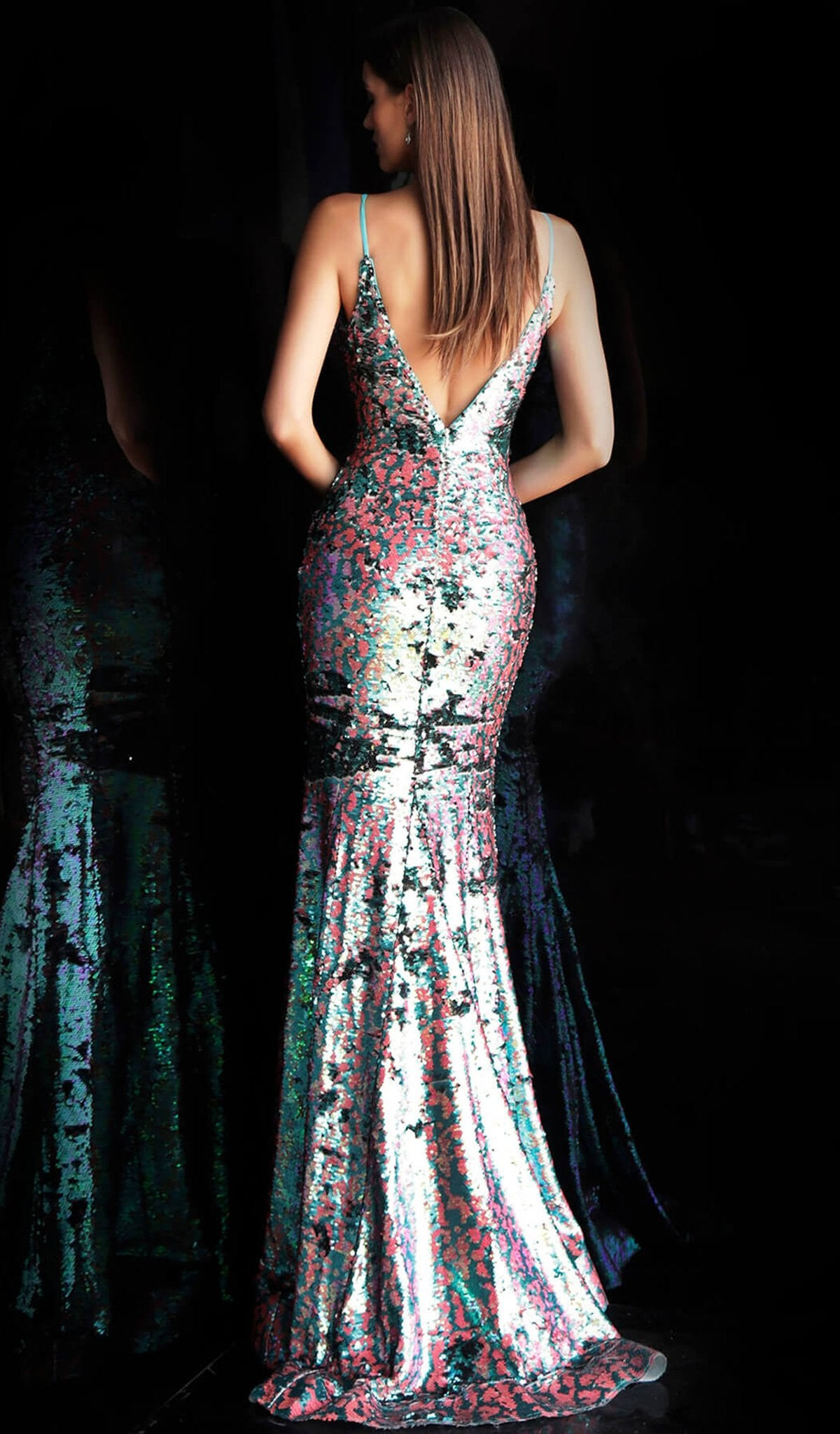 Jovani - 67314 Metallic Sequined Plunging V Neck Evening Gown In Multi-color