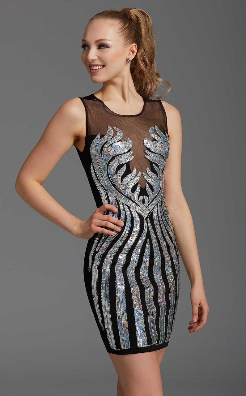 Clarisse - 358 Sleeveless Sheer Metallic Dress in Black