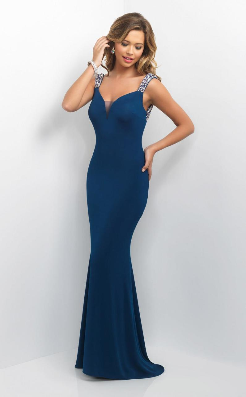 Blush by Alexia Designs - Bejeweled Sweetheart Sheath Dress 11135 Special Occasion Dress 0 / Mediterranean Blue