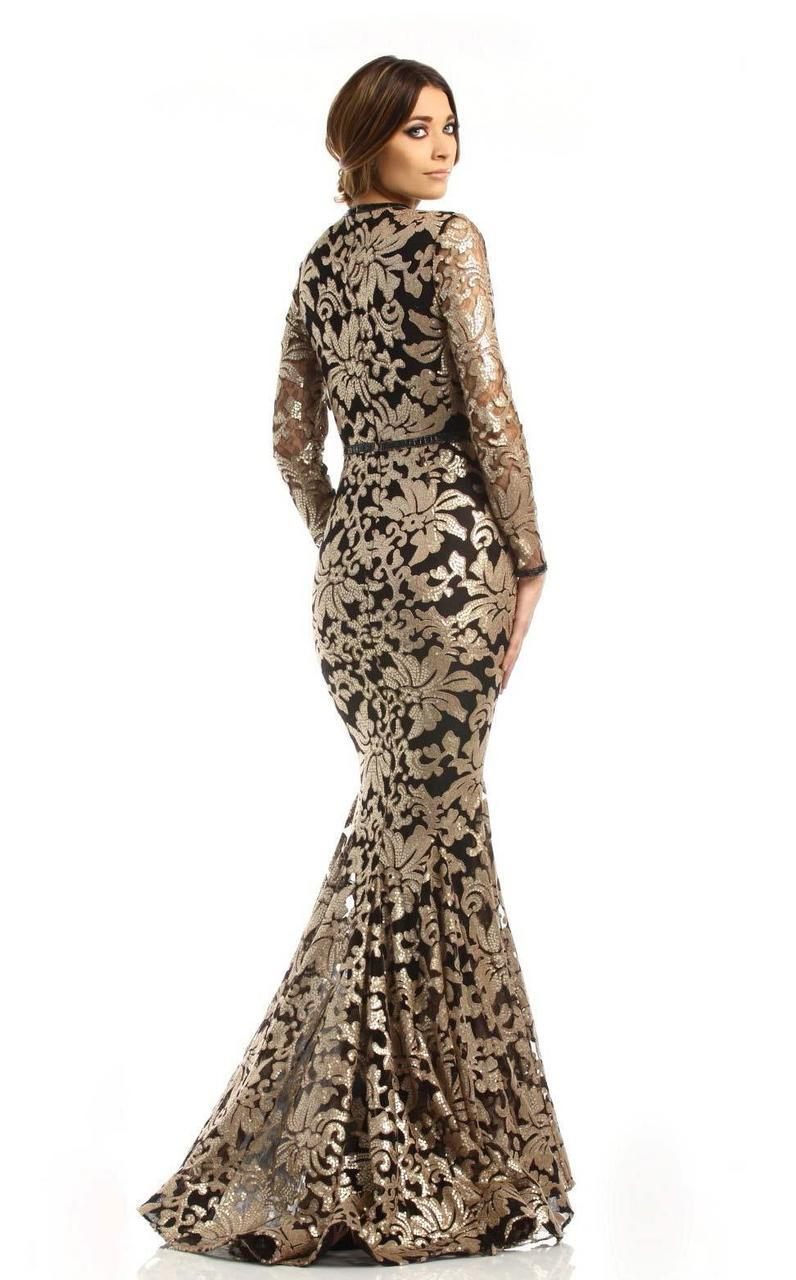 Johnathan Kayne - 6113 Sequined Deep V-neck Mermaid Dress in Black and Gold