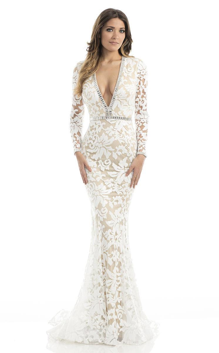 Johnathan Kayne - 6113 Sequined Deep V-neck Mermaid Dress in White and Neutral