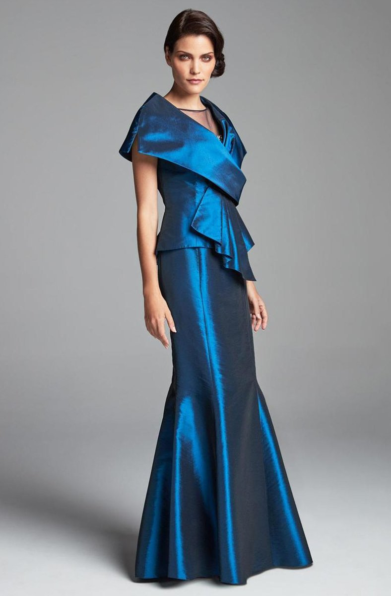 Daymor Couture - 467 Sleek Draped Illusion Neck Mermaid Dress In Blue