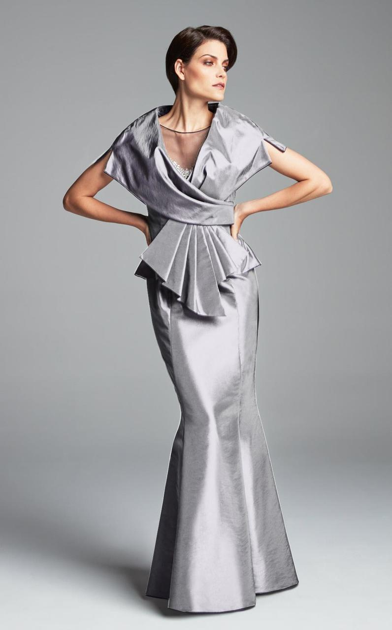 Daymor Couture - Illusion Jewel Neck Mermaid Dress 467 in Gray