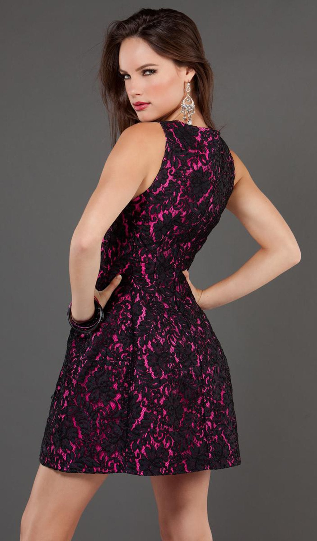 Jovani - 74156 Floral Patterned A Line Cocktail Dress in Black and Pink