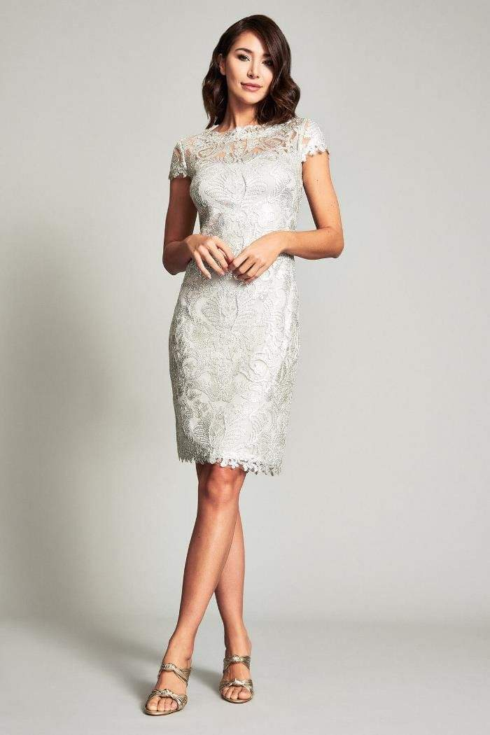 Tadashi Shoji - Embroidered Lace Bateau Fitted Dress Wedding Guest 00 / Silver