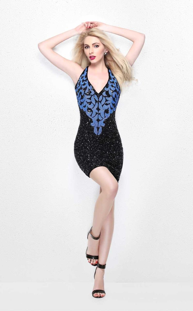 Primavera Couture - Sequined V-Neck Short Sheath Dress 1628 in Black and Blue