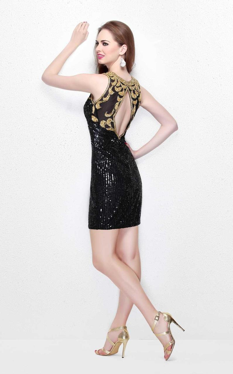 Primavera Couture - Sequined Pleated Illusion High Neck Sheath Dress 1631 in Black