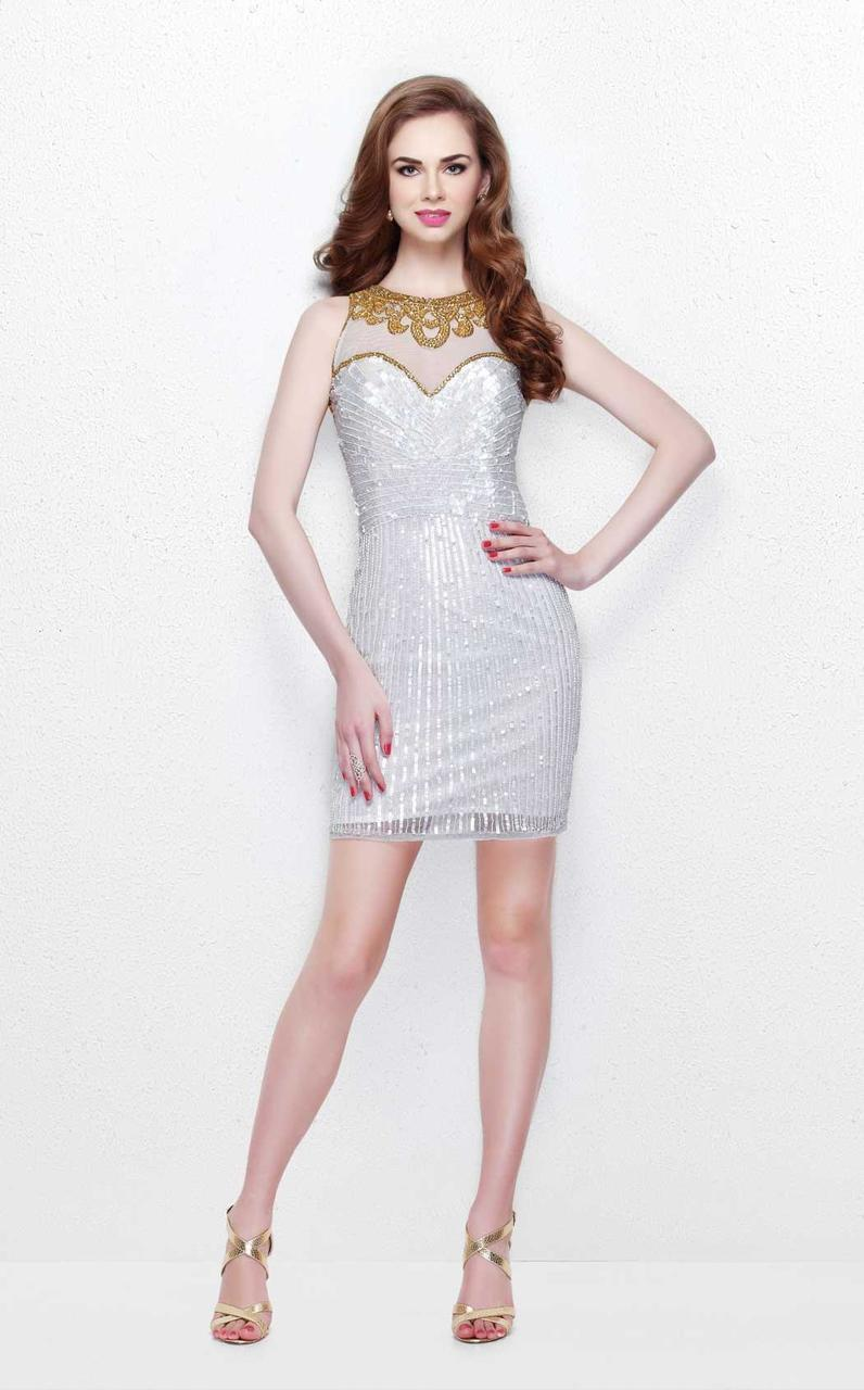 Primavera Couture - Sequined Pleated Illusion High Neck Sheath Dress 1631 in White