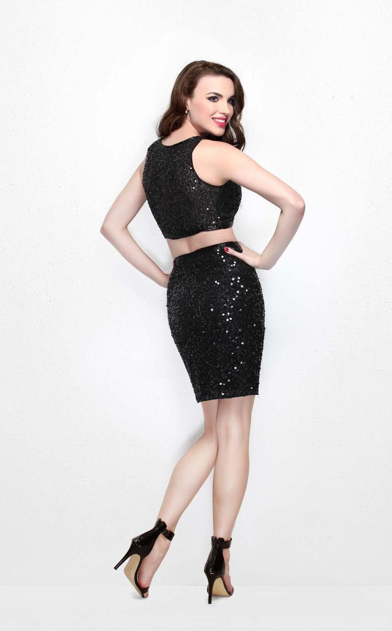 Primavera Couture - Two Piece Sequined Cocktail Dress 1652 in Black