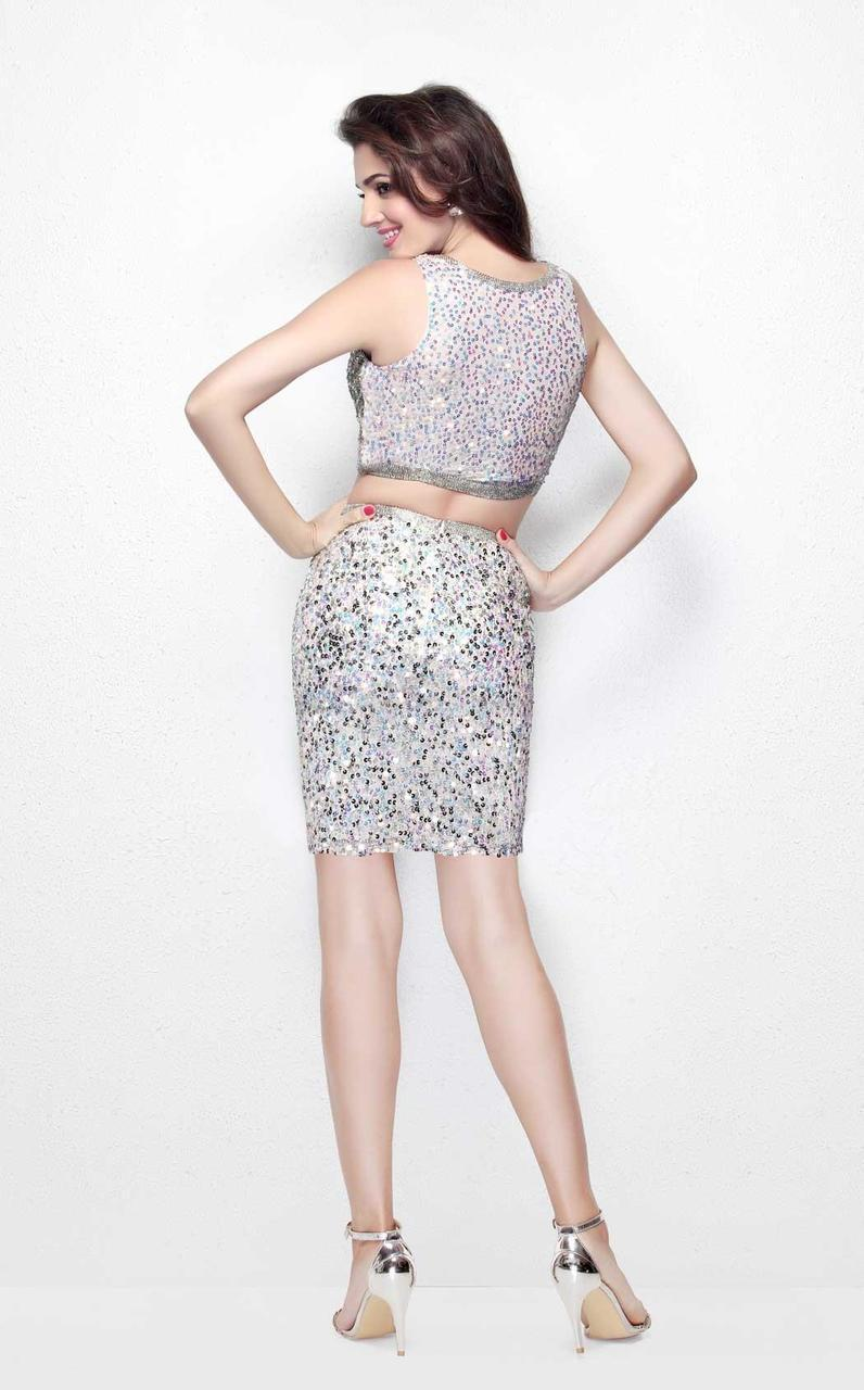 Primavera Couture - Two Piece Sequined Cocktail Dress 1652 in Neutral