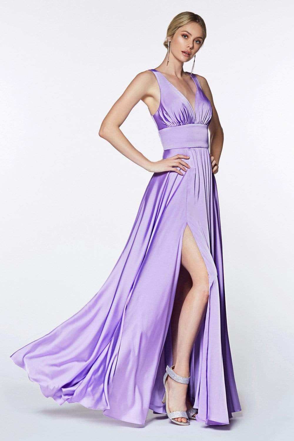 Cinderella Divine - 7469 Sleeveless V Neck Flowing Satin Gown in Purple