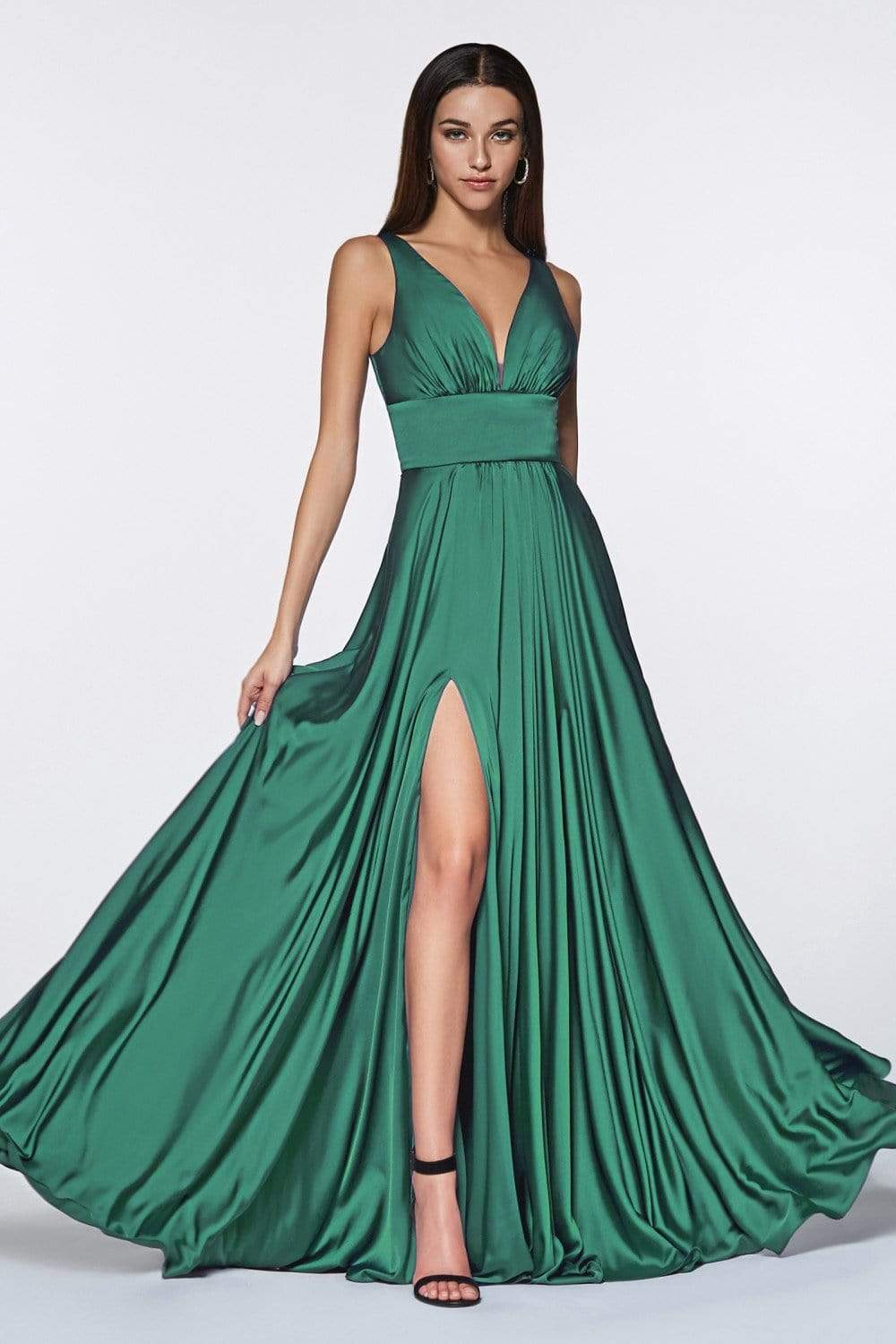 Cinderella Divine - 7469 Sleeveless V Neck Flowing Satin Gown in Green