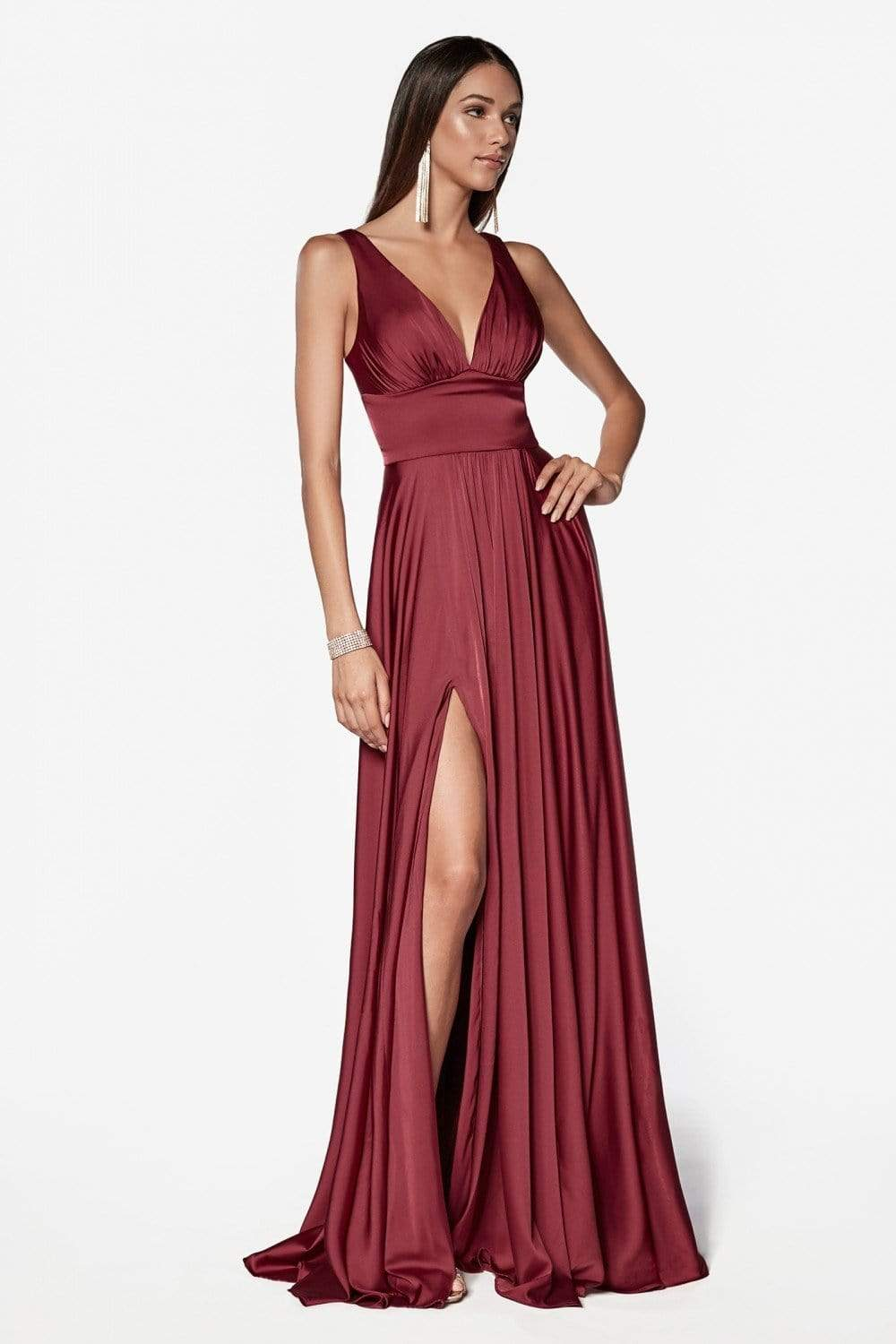 Cinderella Divine - 7469 Sleeveless V Neck Flowing Satin Gown in Red