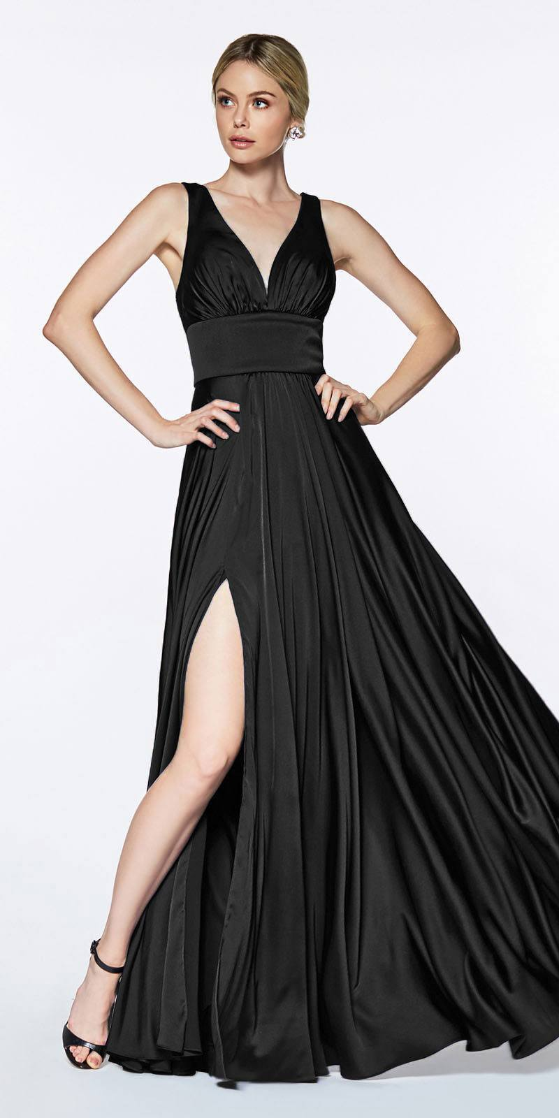 Cinderella Divine - 7469 Sleeveless V Neck High Slit Satin Gown In Black