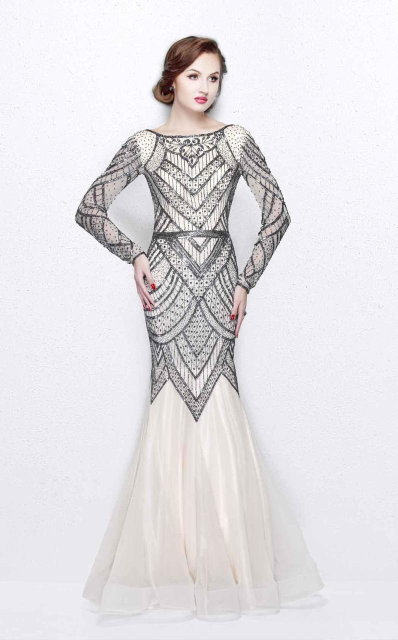 Primavera Couture - Stunning Beaded Long Sleeve Mermaid Gown 1725 in Neutral and Gray