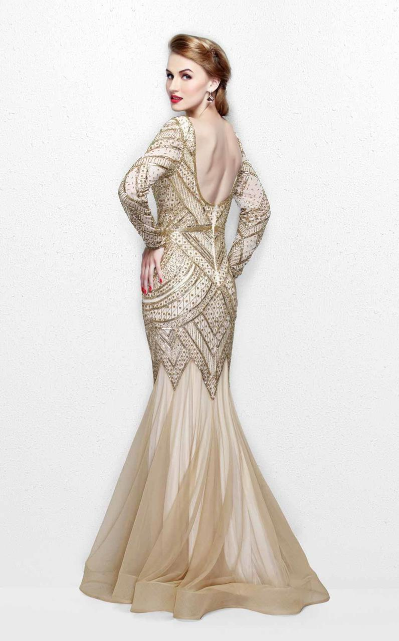 Primavera Couture - Stunning Beaded Long Sleeve Mermaid Gown 1725 in Neutral and Gold