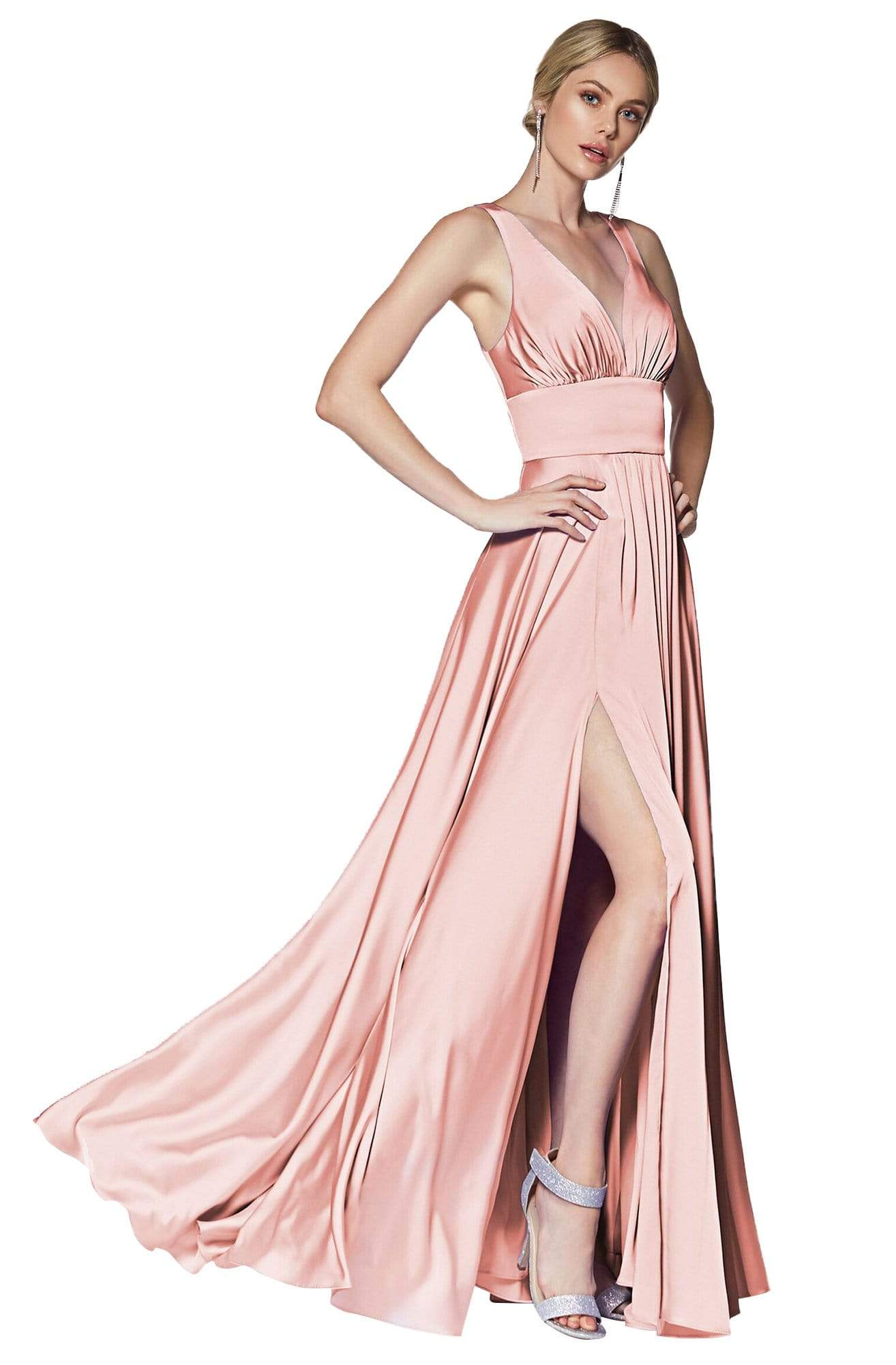 Cinderella Divine - 7469 Sleeveless V Neck Flowing Satin Gown in Pink