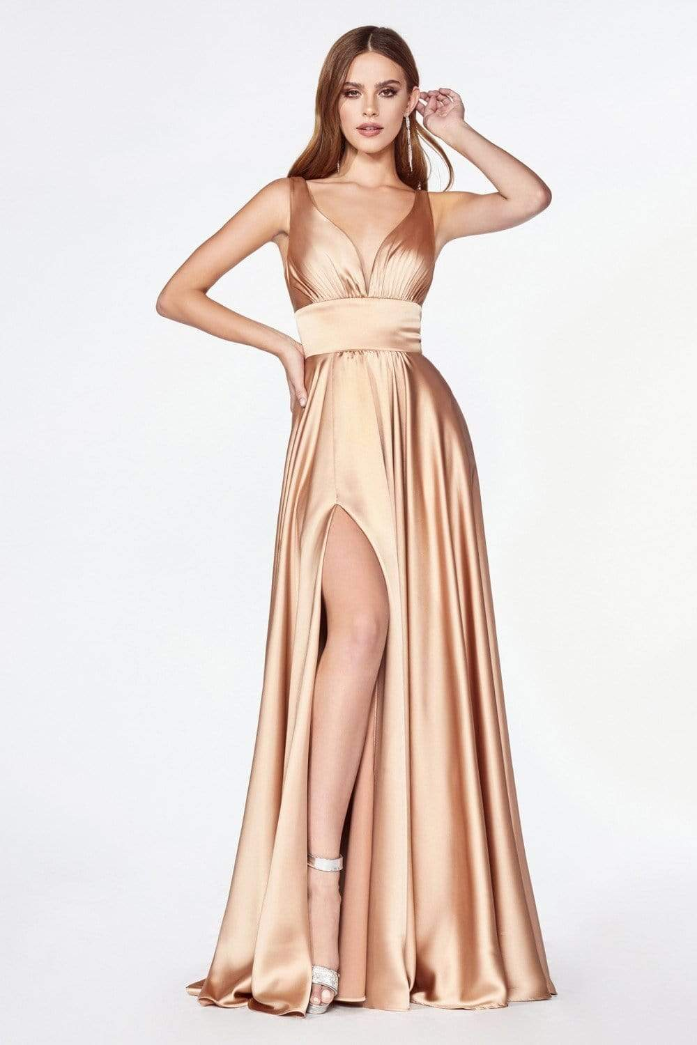 Cinderella Divine - 7469 Sleeveless V Neck Flowing Satin Gown in Gold