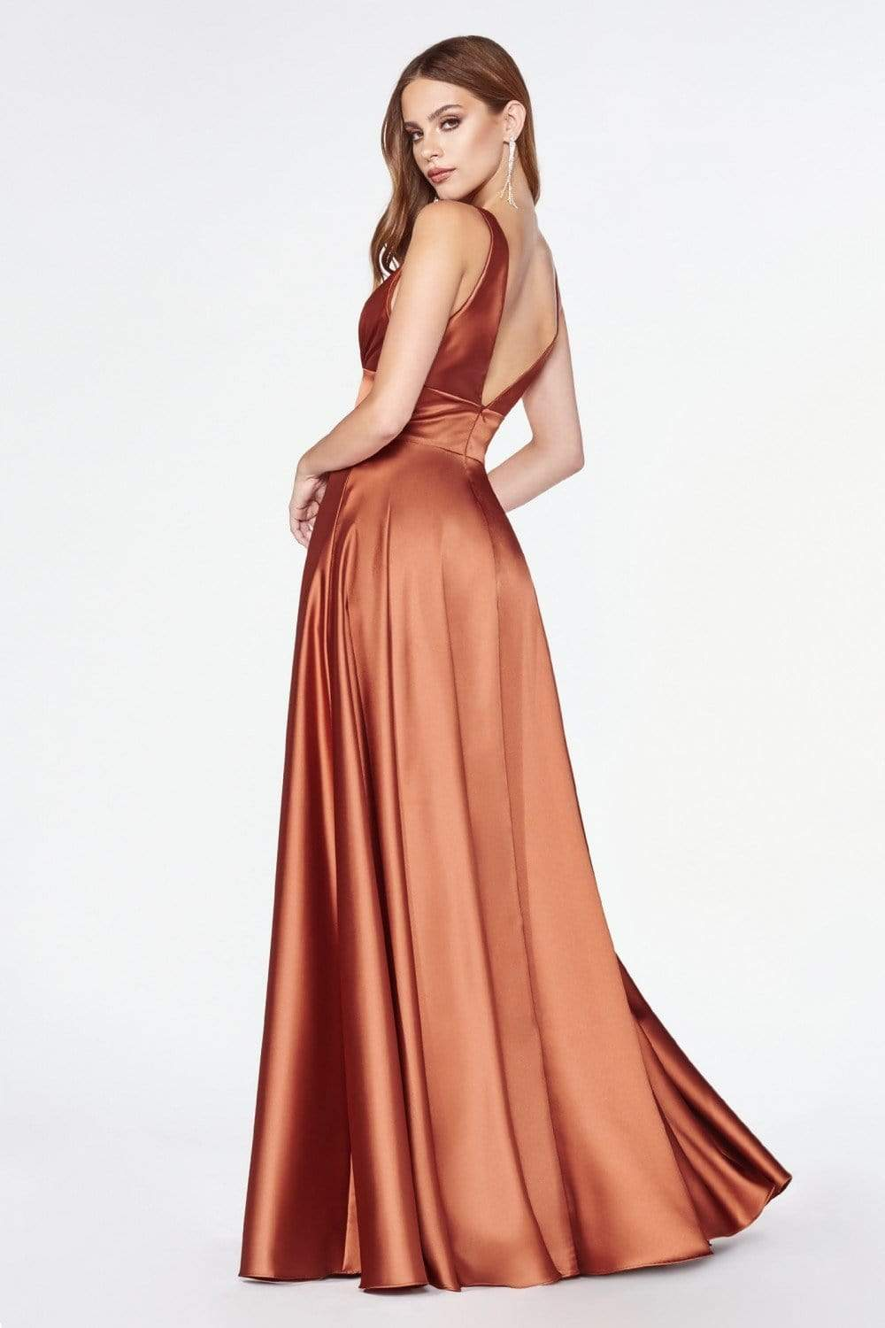 Cinderella Divine - 7469 Sleeveless V Neck Flowing Satin Gown in Orange