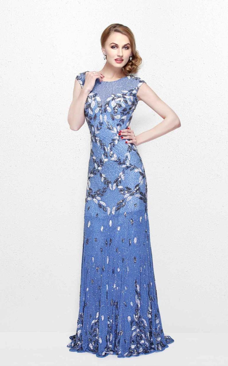 Primavera Couture - Exquisite Multi-Colored Leafy Patterned Long Dress 1812 in Blue and Multi-Color
