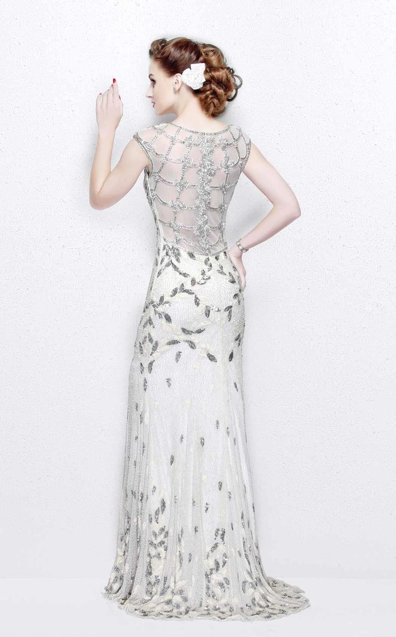 Primavera Couture - Exquisite Multi-Colored Leafy Patterned Long Dress 1812 in White
