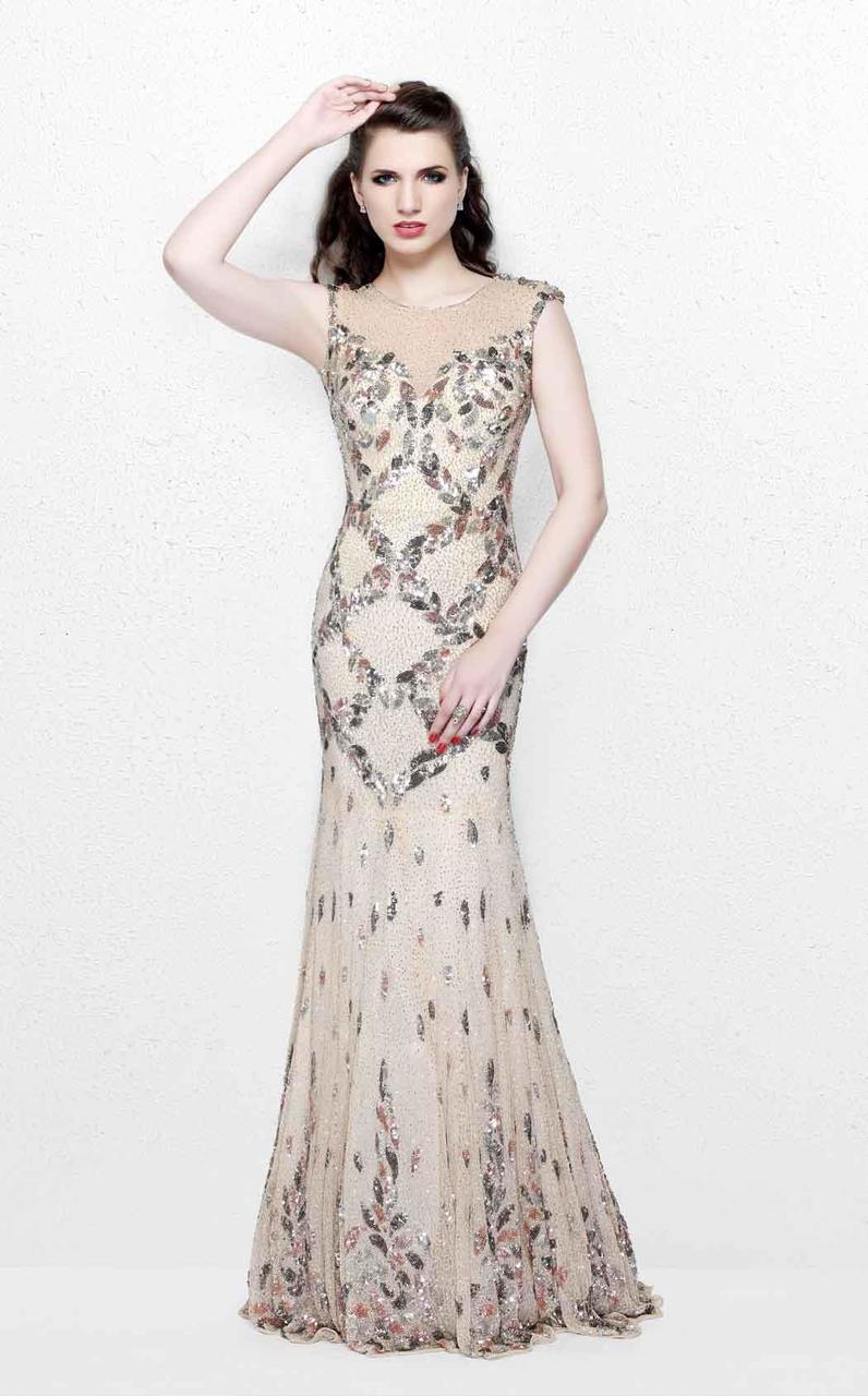 Primavera Couture - Exquisite Multi-Colored Leafy Patterned Long Dress 1812 in Neutral and Multi-Color