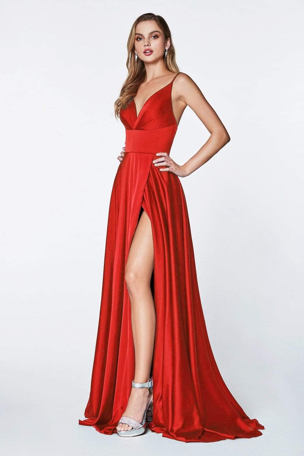 Cinderella Divine - 7472 Spaghetti Straps V Neck Wrap Satin Gown In Red