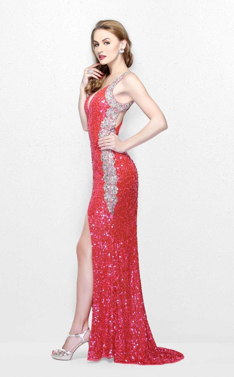 Primavera Couture - Luminous Two-Tone Sequined V-Neck Sheath Gown 1819 in Pink