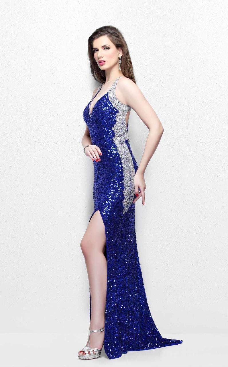 Primavera Couture - Luminous Two-Tone Sequined V-Neck Sheath Gown 1819 in Blue