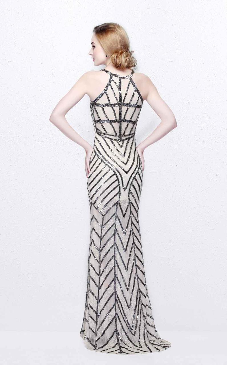 Primavera Couture - Bead Embellished Illusion Halter Neck Sheath Dress 1821 in Gray
