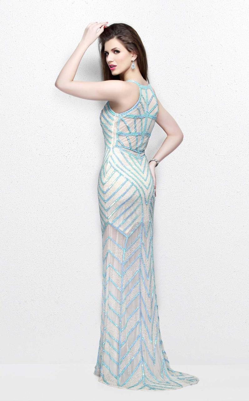 Primavera Couture - Bead Embellished Illusion Halter Neck Sheath Dress 1821 in Green