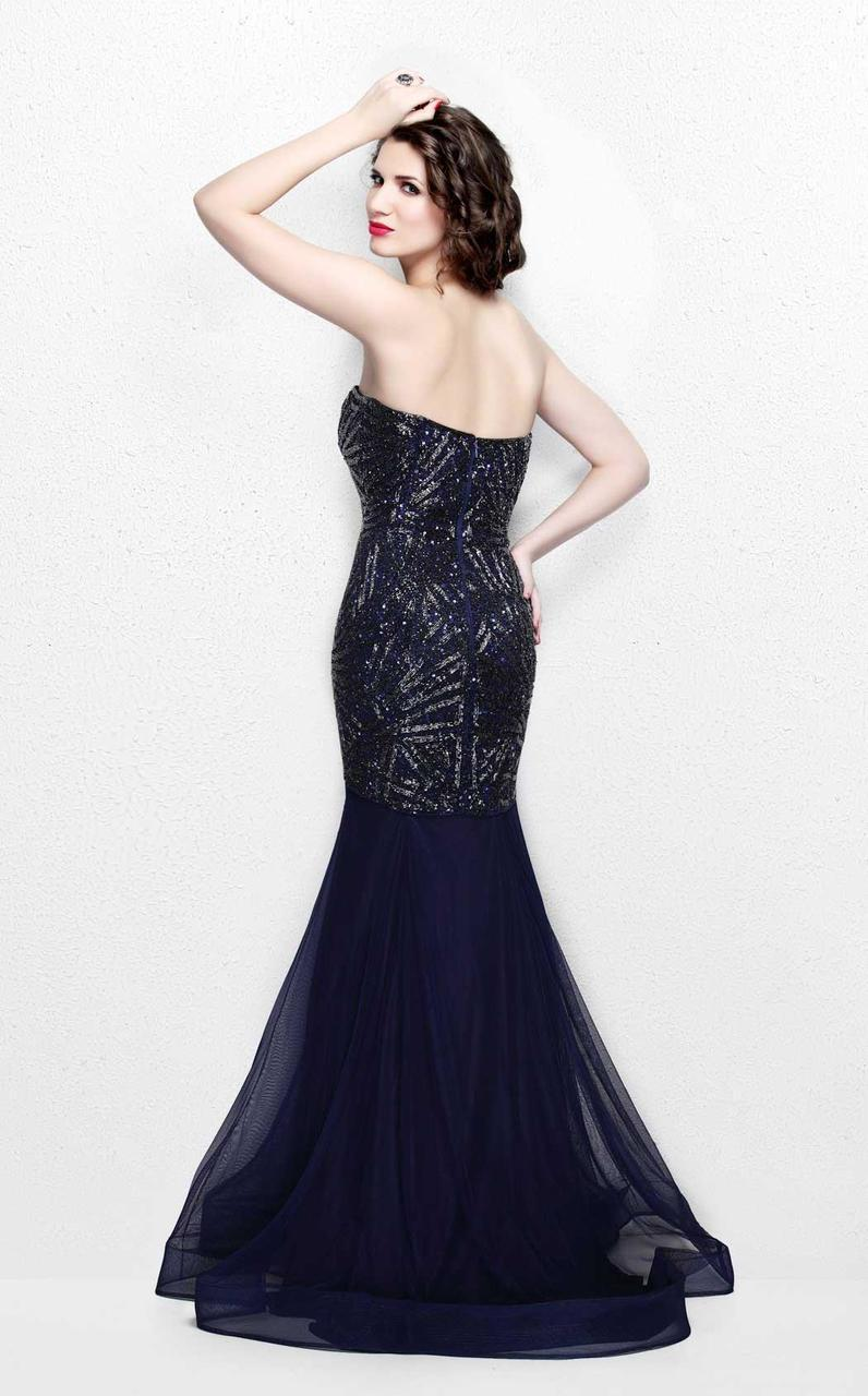 Primavera Couture - Radiant Ornate Strapless Sweetheart Trumpet Gown 1825 in Blue