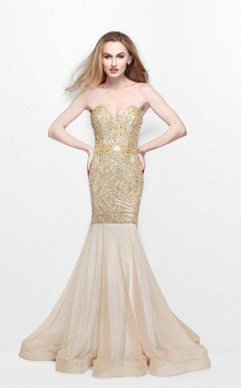 Primavera Couture - Radiant Ornate Strapless Sweetheart Trumpet Gown 1825 in Neutral and Gold