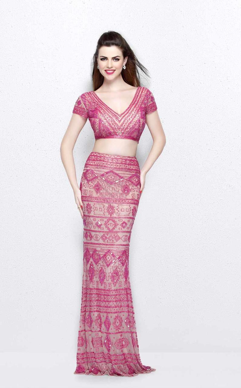 Primavera Couture - Two Piece V-Neck Long Dress 1864 in Pink