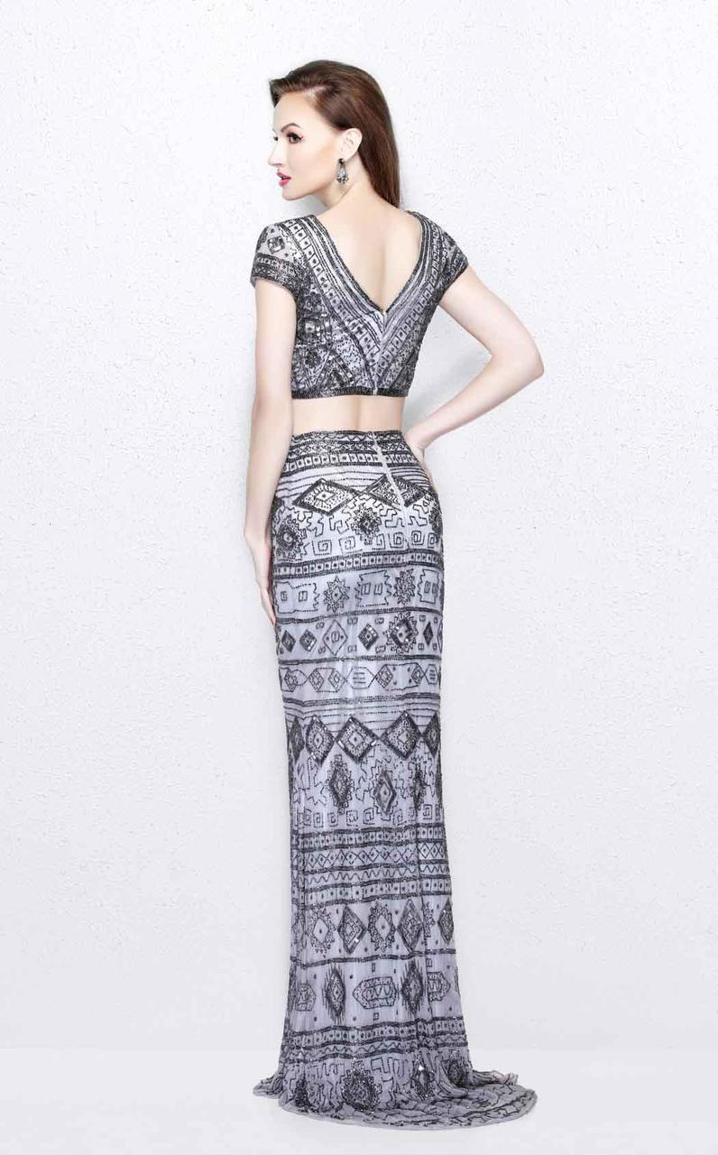 Primavera Couture - Two Piece V-Neck Long Dress 1864 in Gray