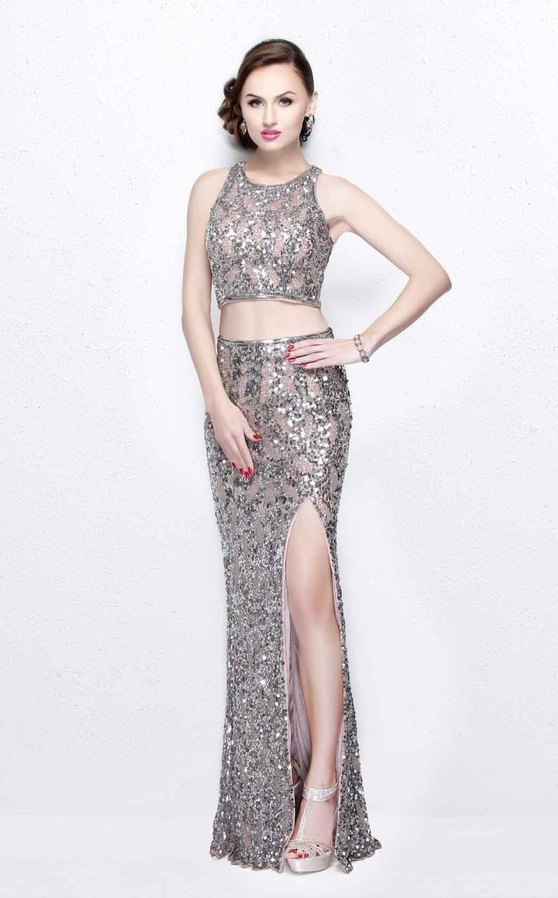 Primavera Couture - Glittering Two Piece Halter Long Gown with Slit 1866 in Nude