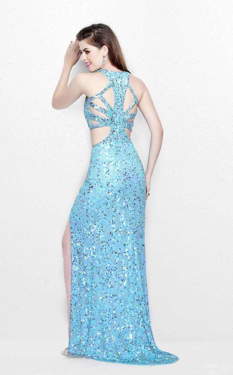 Primavera Couture - Glittering Two Piece Halter Long Gown with Slit 1866 in Blue