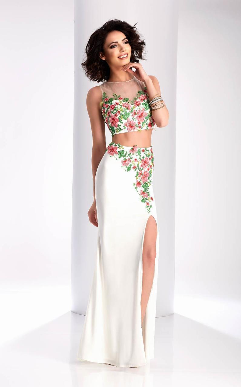 Clarisse - 3056 Floral Illusion Jewel Sheath Dress in White and Multi-Color